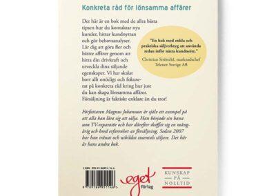 Baksidan av boken Försäljning – enklare än du tror, av Magnus H Johansson