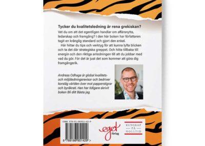 Baksidan av boken Jakten på papperstigern, av Andreas Odhage
