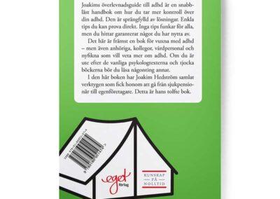 Baksidan av boken Joakims överlevnadsguide till adhd, av Joakim Hedström