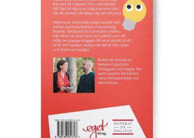 Baksidan av boken Matlåderoulette och annat roligt på jobbet, av Helene Engström och Joakim Hedström