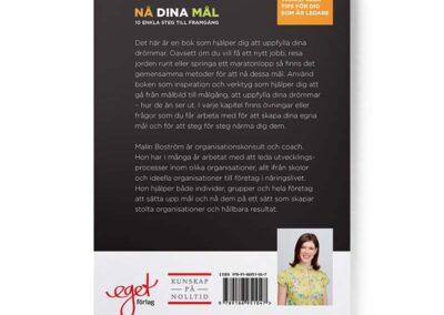 Baksidan av boken Nå dina mål, av Malin Boström