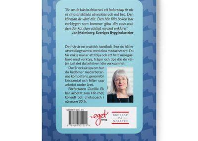 Baksidan av boken Utvecklingssamtal – en handbok för chefer, av Gunilla Ek