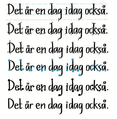 Alla kan texta snyggt - här är några exempel på bokstäver med seriffer och bokstäver utan seriffer